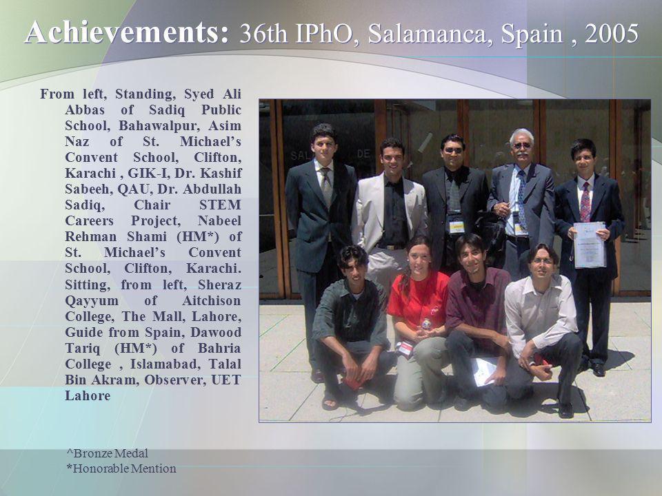 Achievements: 36th IPhO, Salamanca, Spain, 2005 From left, Standing, Syed Ali Abbas of Sadiq Public School, Bahawalpur, Asim Naz of St. Michaels Conve