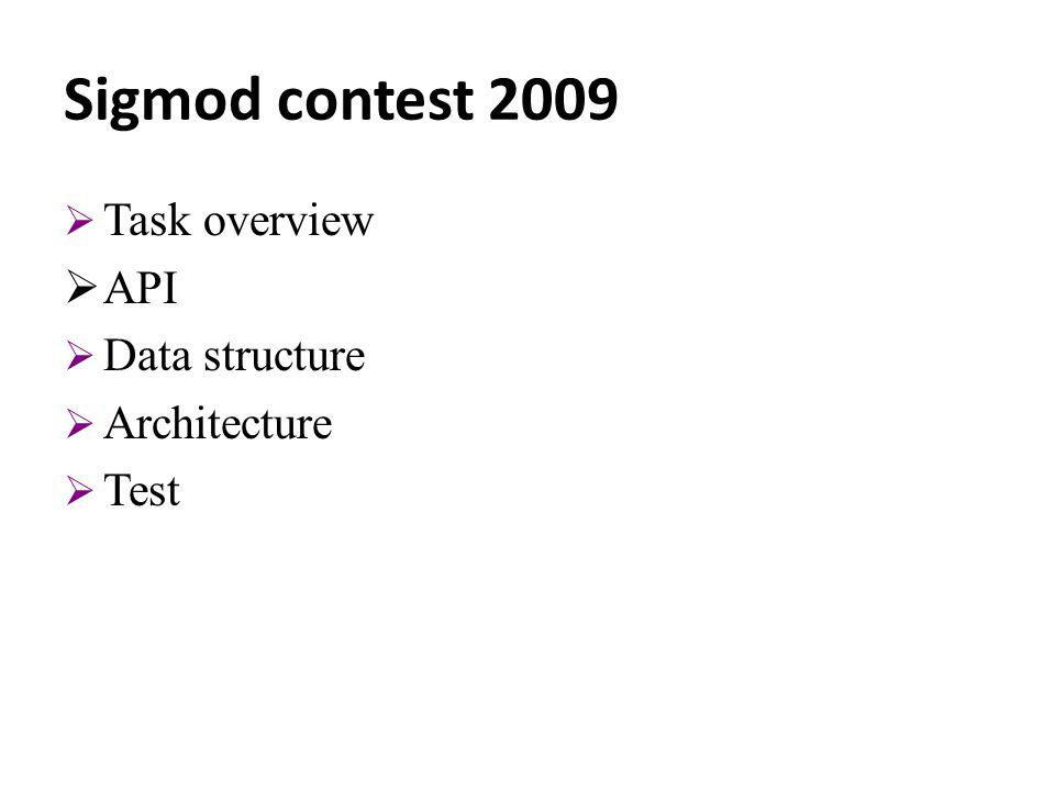 Sigmod contest 2009 Task overview API Data structure Architecture Test