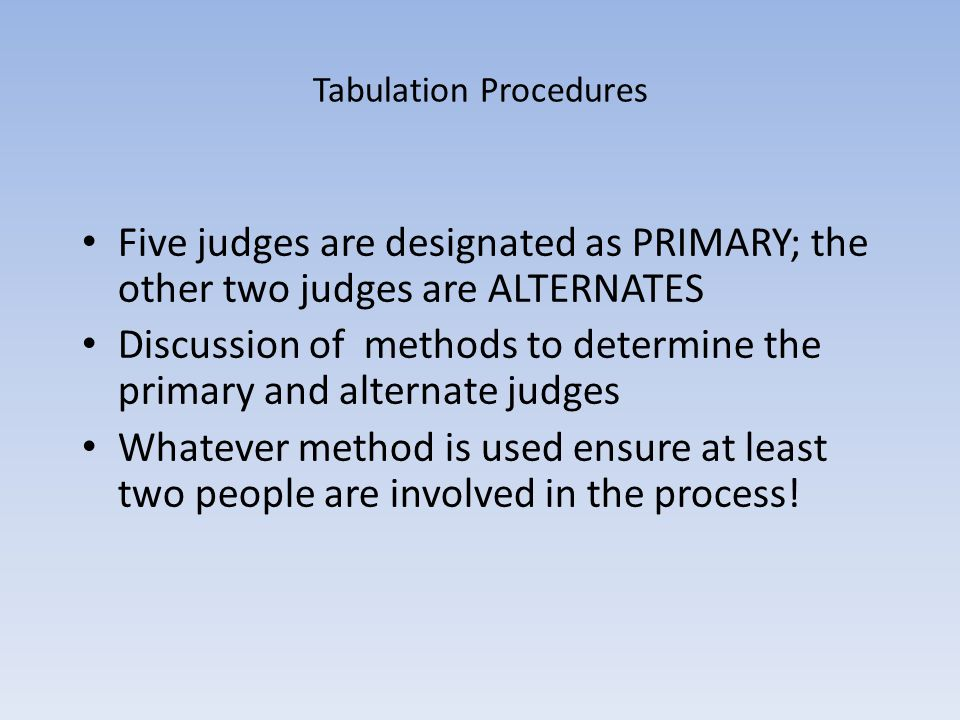 Tabulation Procedures Five judges are designated as PRIMARY; the other two judges are ALTERNATES Discussion of methods to determine the primary and alternate judges Whatever method is used ensure at least two people are involved in the process!