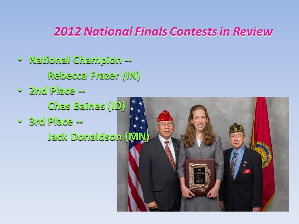 2012 National Finals Contests in Review National Champion -- National Champion -- Rebecca Frazer (IN) 2nd Place -- 2nd Place -- Chas Baines (ID) 3rd Place -- 3rd Place -- Jack Donaldson (MN)