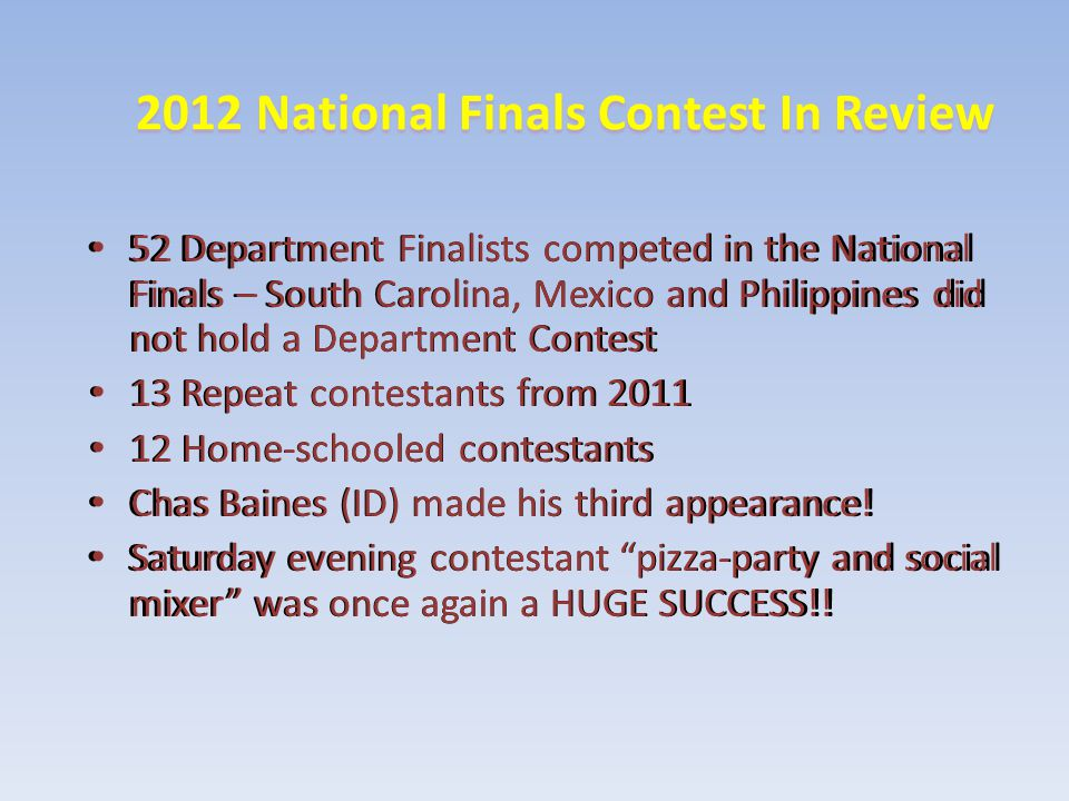 2012 National Finals Contest In Review 52 Department Finalists competed in the National Finals – South Carolina, Mexico and Philippines did not hold a