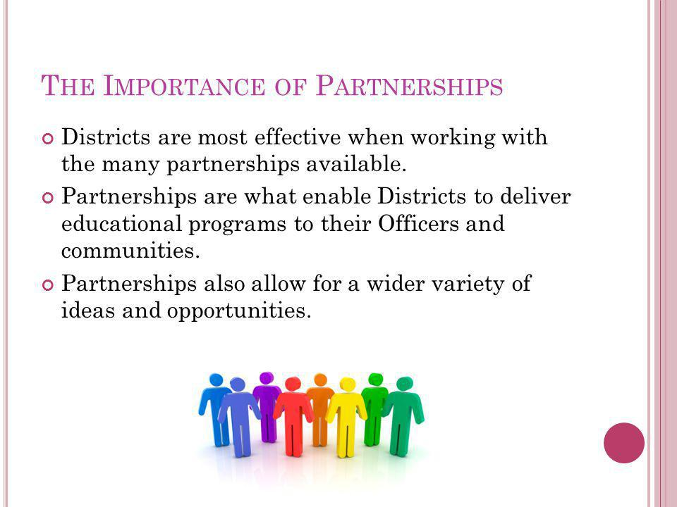 T HE I MPORTANCE OF P ARTNERSHIPS Districts are most effective when working with the many partnerships available.