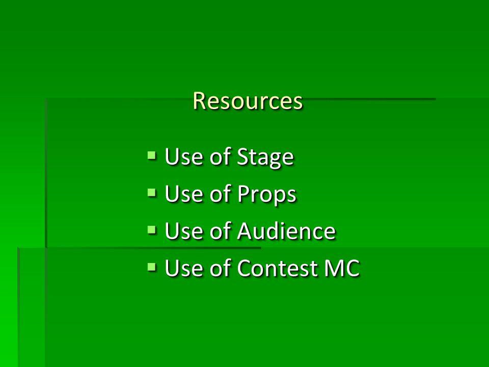 Resources Resources Use of Stage Use of Stage Use of Props Use of Props Use of Audience Use of Audience Use of Contest MC Use of Contest MC Use of Stage Use of Stage Use of Props Use of Props Use of Audience Use of Audience Use of Contest MC Use of Contest MC