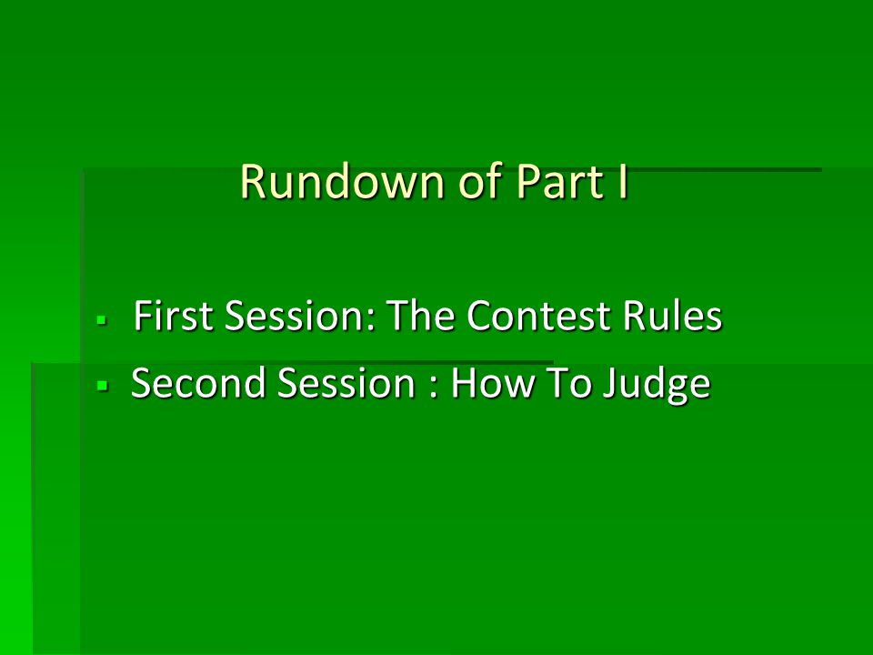 Answer to Quiz 3 … Contest Chair to Clearly Announce before Contest Begins that NO Photography is Allowed.