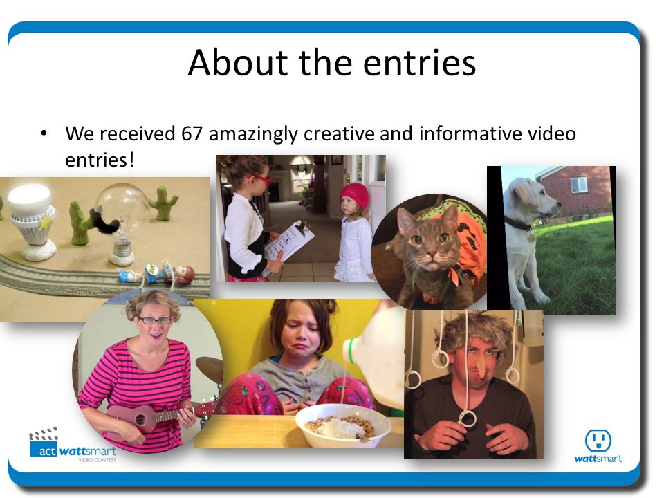 About the entries We received 67 amazingly creative and informative video entries!