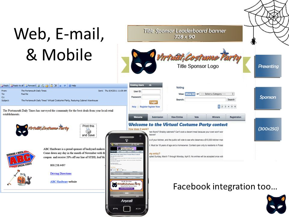 Web, E-mail, & Mobile Facebook integration too…