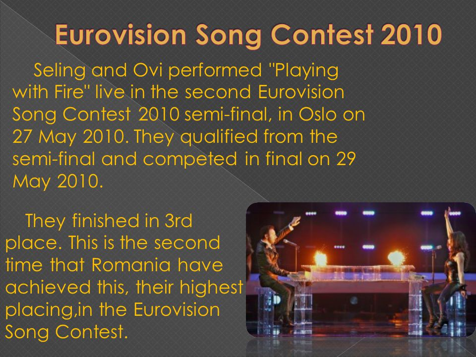 Seling and Ovi performed Playing with Fire live in the second Eurovision Song Contest 2010 semi-final, in Oslo on 27 May 2010.