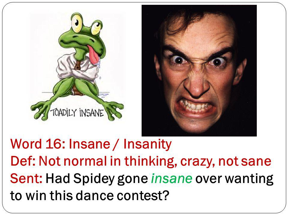 Word 16: Insane / Insanity Def: Not normal in thinking, crazy, not sane Sent: Had Spidey gone insane over wanting to win this dance contest?