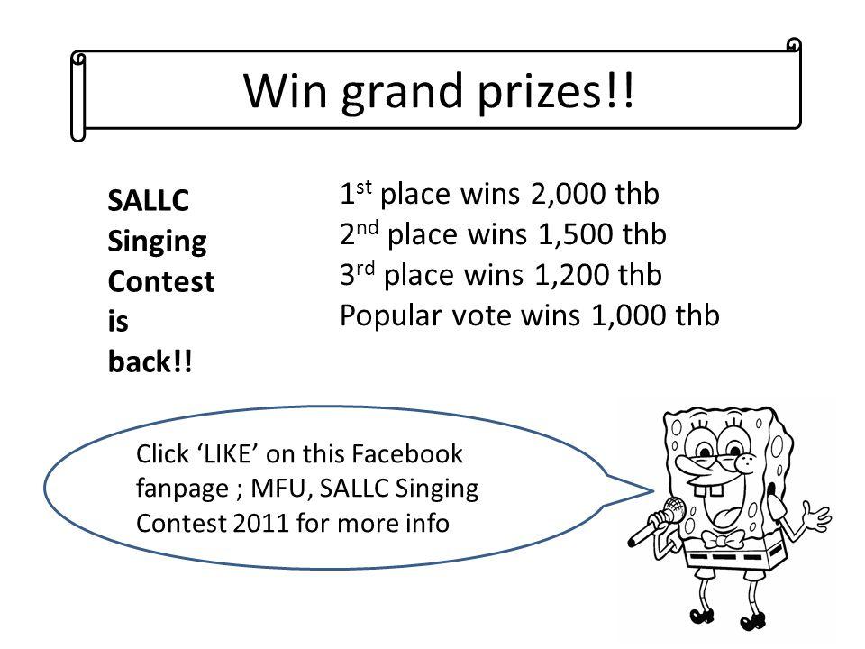 Win grand prizes!.