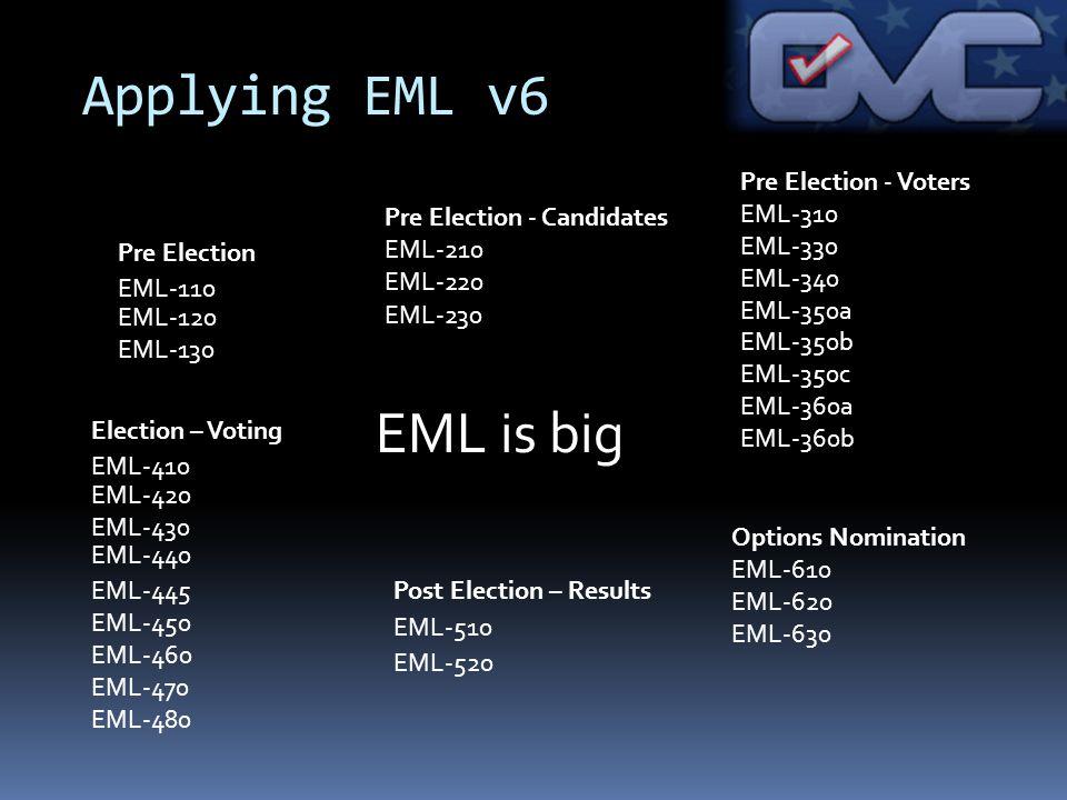 EML is big Applying EML v6 Pre Election - Voters EML-310 EML-330 EML-340 EML-350a EML-350b EML-350c EML-360a EML-360b Election – Voting EML-420 EML-430 EML-445 EML-450 EML-460 EML-470 EML-480 Pre Election EML-120 EML-130 Pre Election - Candidates EML-210 EML-220 Options Nomination EML-610 EML-620 EML-630 Post Election – Results EML-230 EML-520 EML-510 EML-410 EML-440 EML-110
