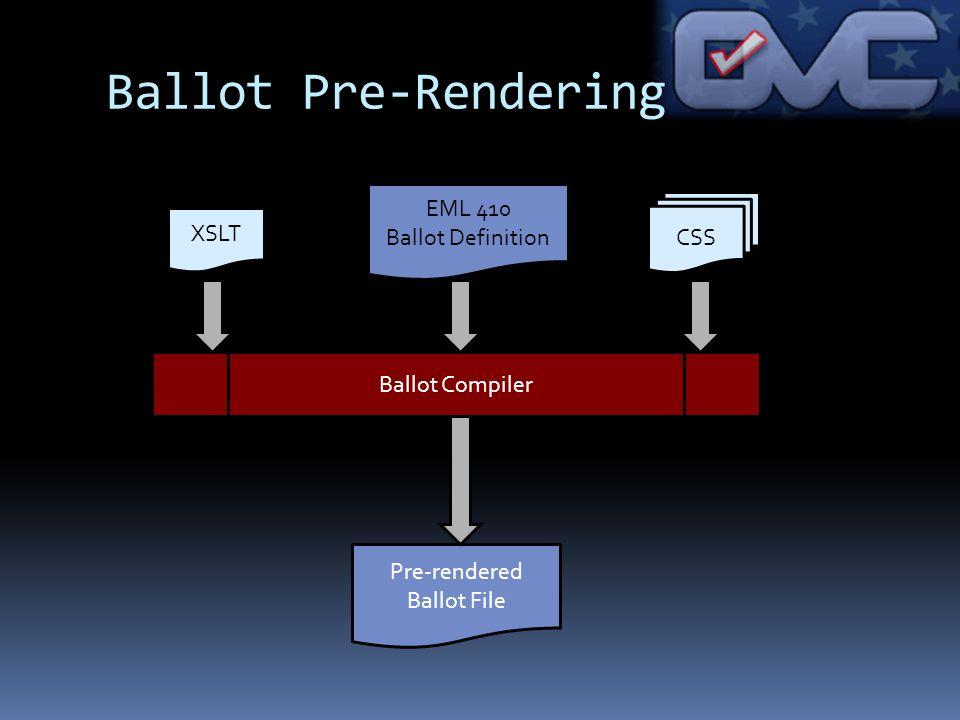 Ballot Pre-Rendering Ballot Compiler CSS XSLT Pre-rendered Ballot File EML 410 Ballot Definition