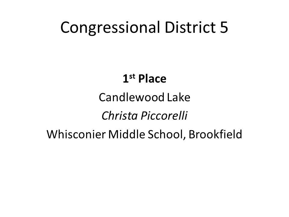 Congressional District 5 1 st Place Candlewood Lake Christa Piccorelli Whisconier Middle School, Brookfield