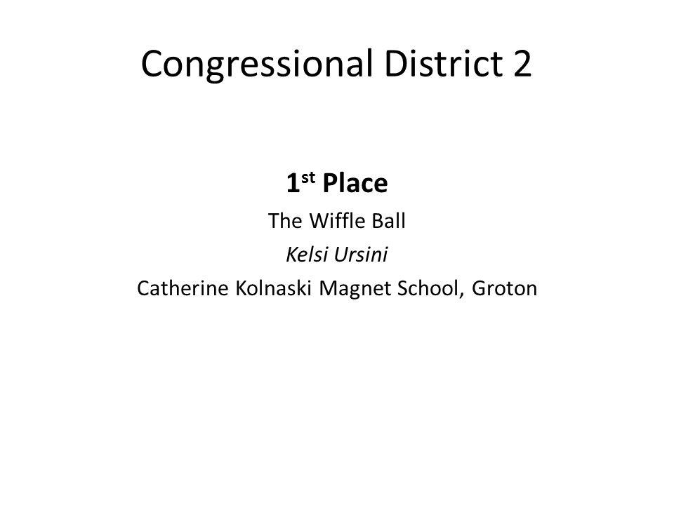 Congressional District 2 1 st Place The Wiffle Ball Kelsi Ursini Catherine Kolnaski Magnet School, Groton