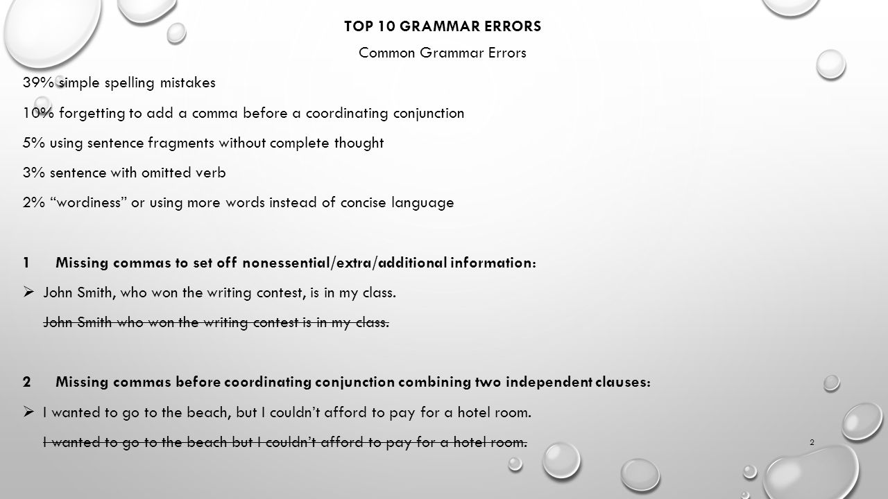 TOP 10 GRAMMAR ERRORS Common Grammar Errors 39% simple spelling mistakes 10% forgetting to add a comma before a coordinating conjunction 5% using sent