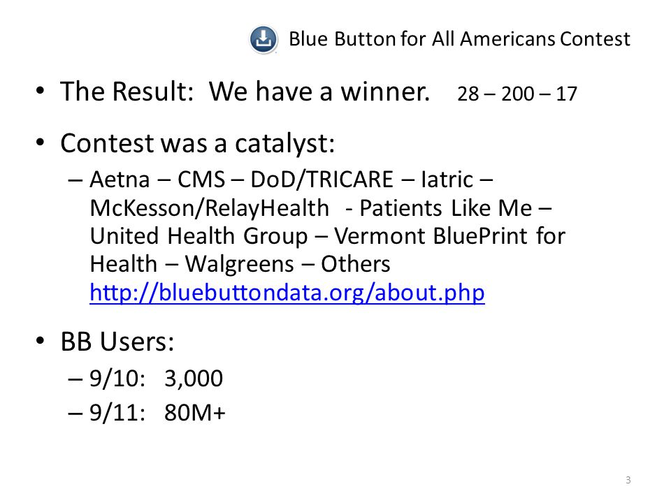 Blue Button for All Americans Contest The Result: We have a winner.