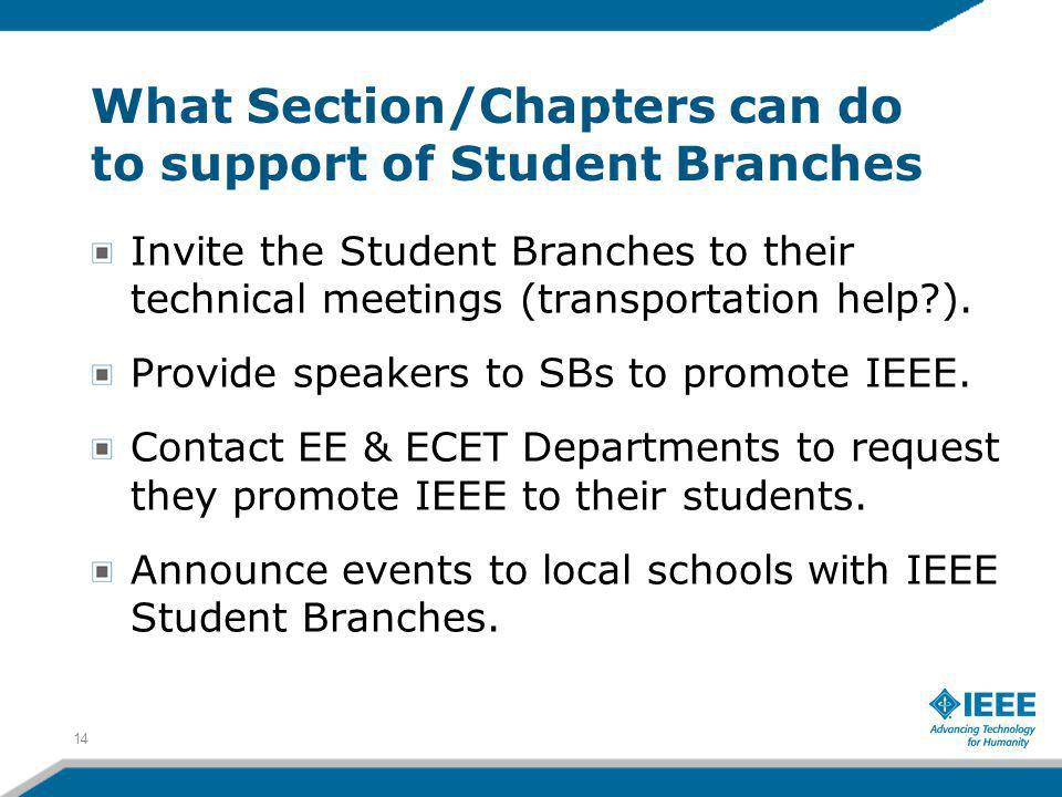 What Section/Chapters can do to support of Student Branches Invite the Student Branches to their technical meetings (transportation help ).