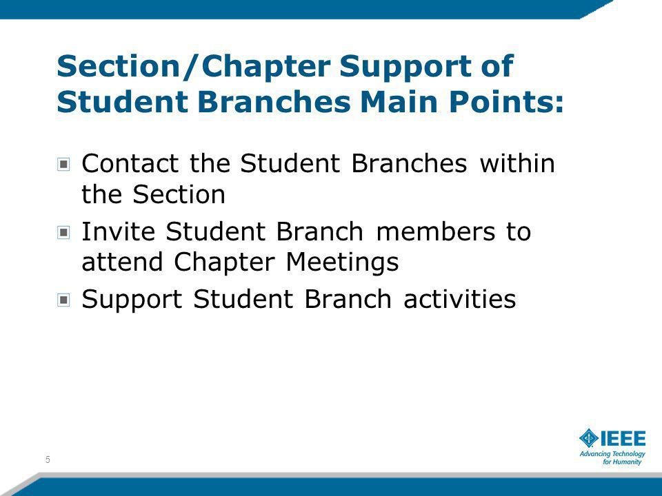 Section/Chapter Support of Student Branches Main Points: Contact the Student Branches within the Section Invite Student Branch members to attend Chapter Meetings Support Student Branch activities 5
