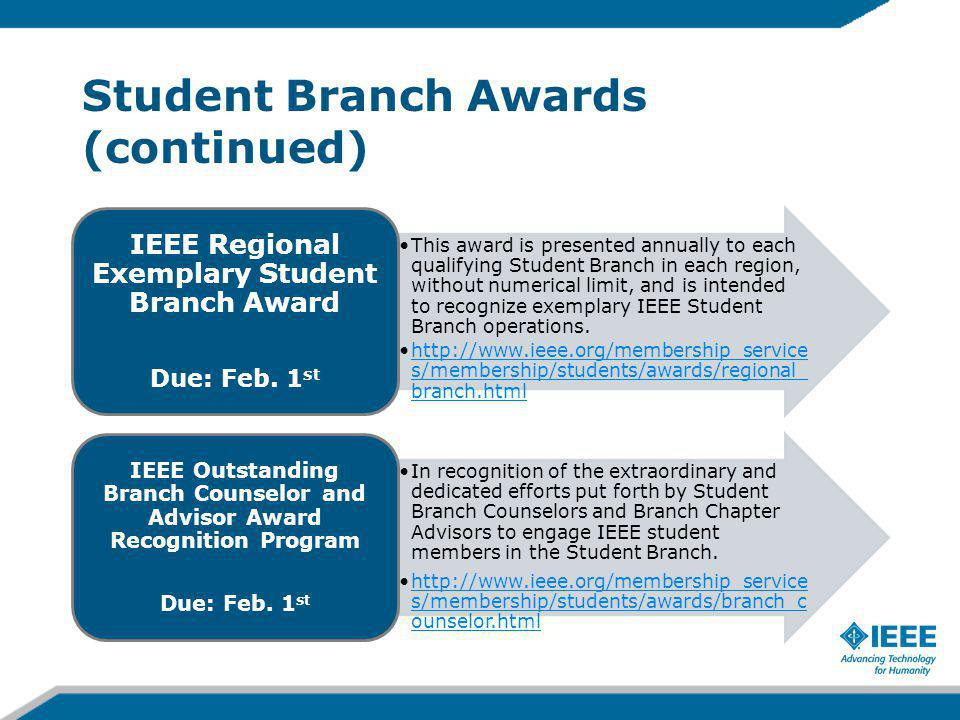 Student Branch Awards (continued) This award is presented annually to each qualifying Student Branch in each region, without numerical limit, and is intended to recognize exemplary IEEE Student Branch operations.
