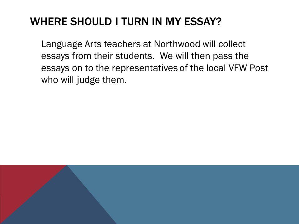 WHERE SHOULD I TURN IN MY ESSAY? Language Arts teachers at Northwood will collect essays from their students. We will then pass the essays on to the r