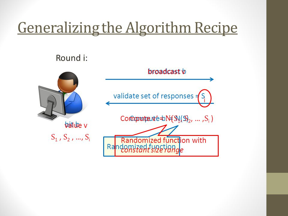 Generalizing the Algorithm Recipe Round i: bit b broadcast b validate set of responses = S Compute b = N(S) Randomized function value v broadcast v i S 1, S 2, …, S i Compute v = N(S 1, S 2, …, S i ) Randomized function with constant size range