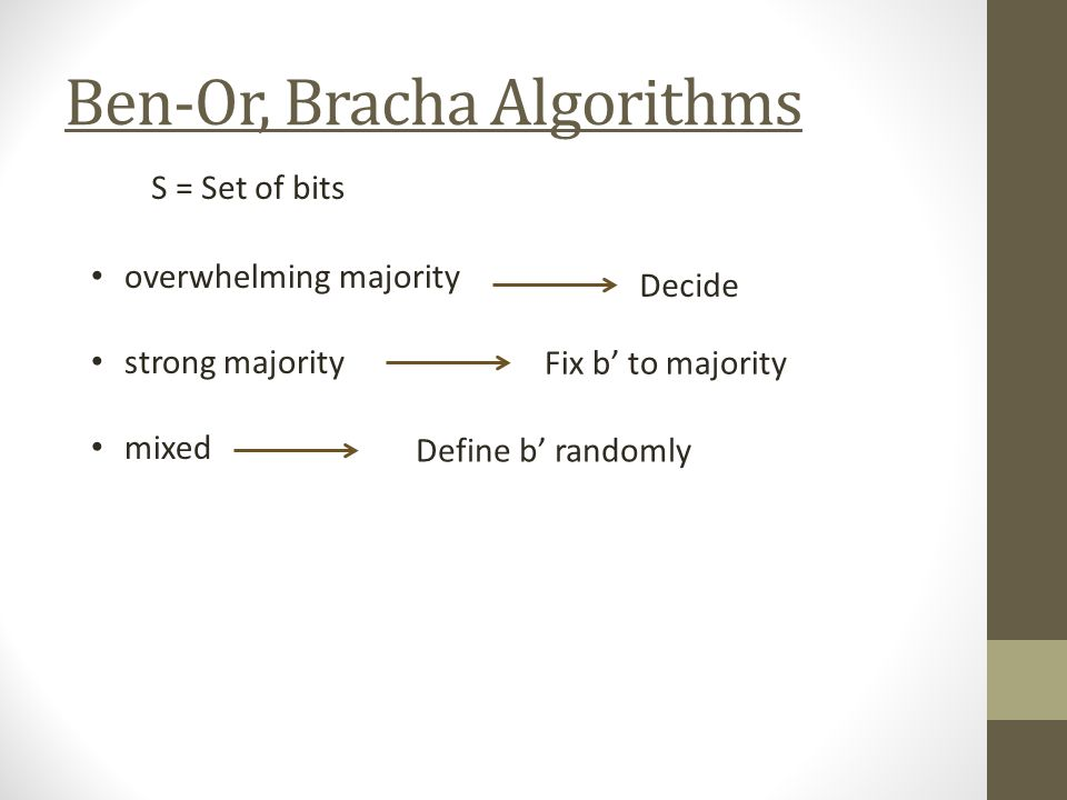 Ben-Or, Bracha Algorithms S = Set of bits overwhelming majority strong majority mixed Decide Fix b to majority Define b randomly