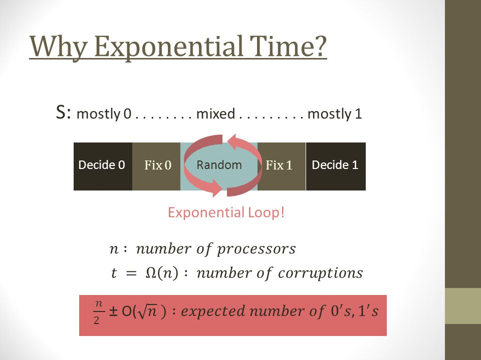 Why Exponential Time. Decide 0 Fix 0 Random Decide 1 Fix 1 S: mostly 0........