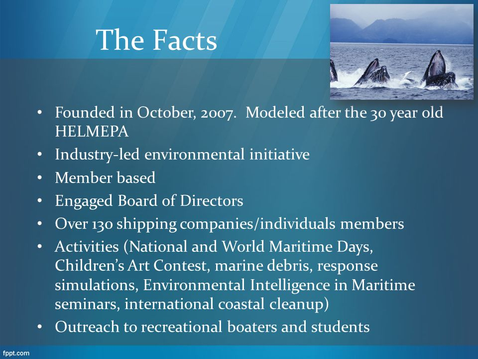 The Facts Founded in October, 2007. Modeled after the 30 year old HELMEPA Industry-led environmental initiative Member based Engaged Board of Director