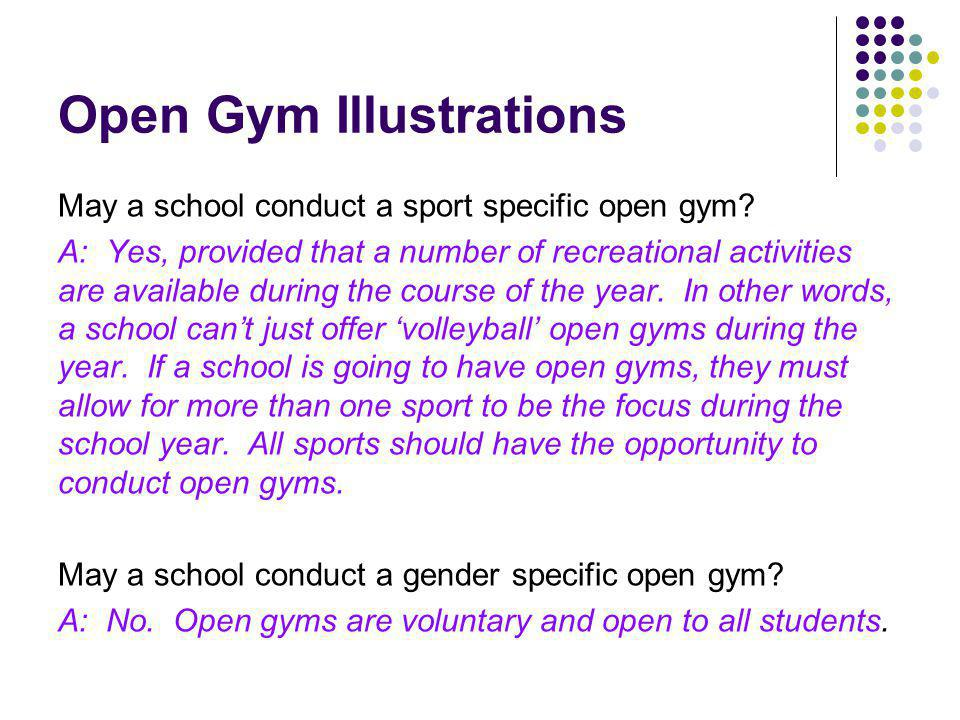 Open Gym Illustrations May a school conduct a sport specific open gym.