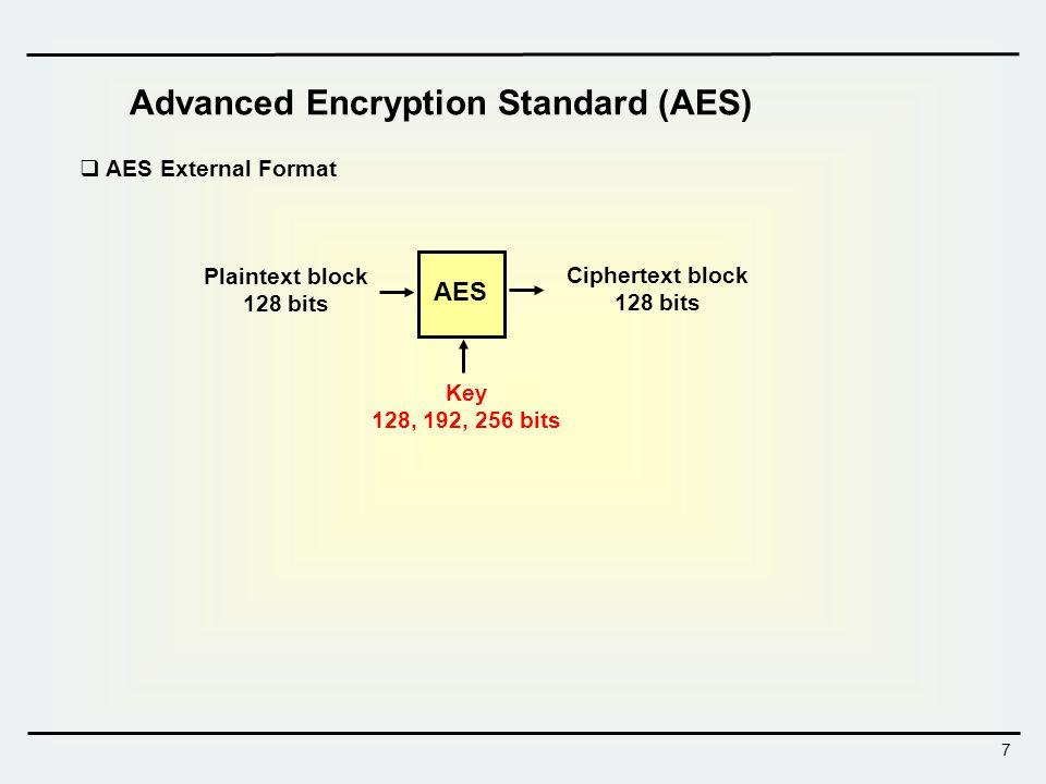 8 AES Architecture SPN-type block cipher Block size = 128 bits Key size / No.