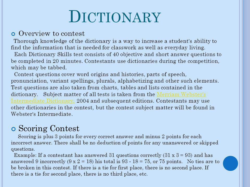 L ISTENING Overview to contest Listening contest is designed to help students recognize the importance of effective listening skills and to identify problems they may have in listening effectively.