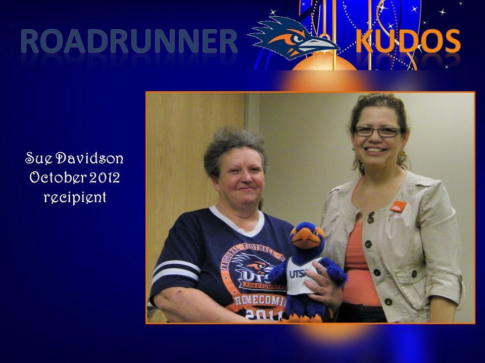 Sue Davidson October 2012 recipient