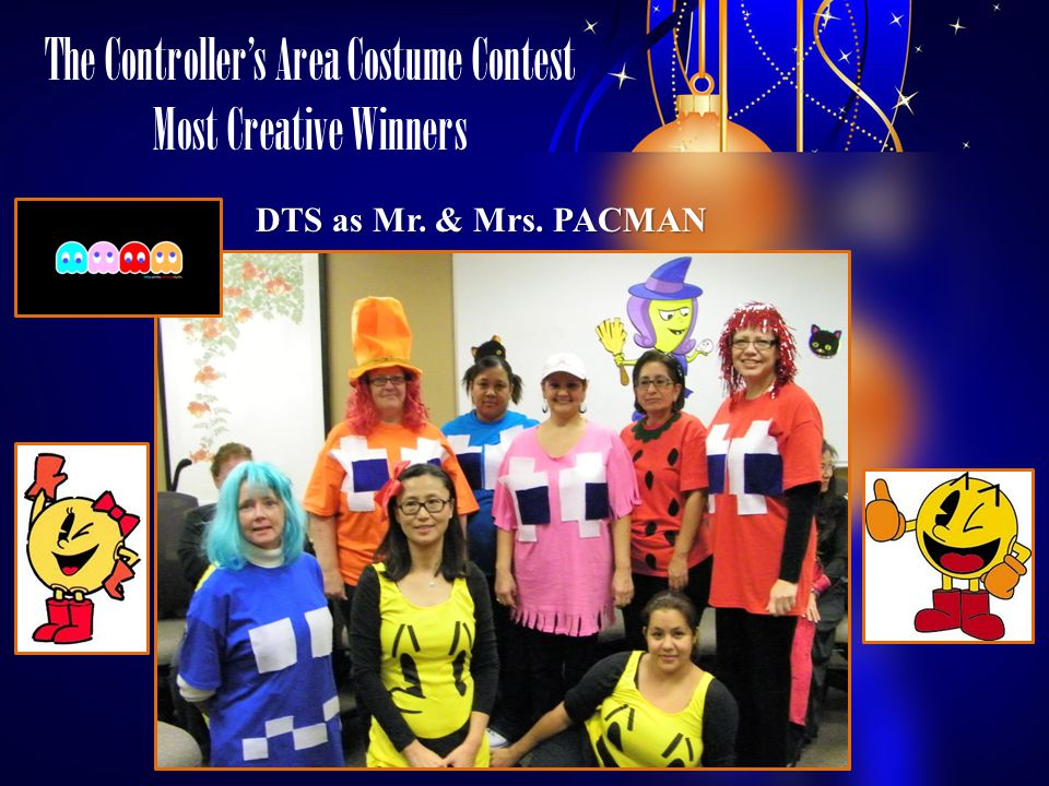 The Controllers Area Costume Contest Most Creative Winners DTS as Mr. & Mrs. PACMAN