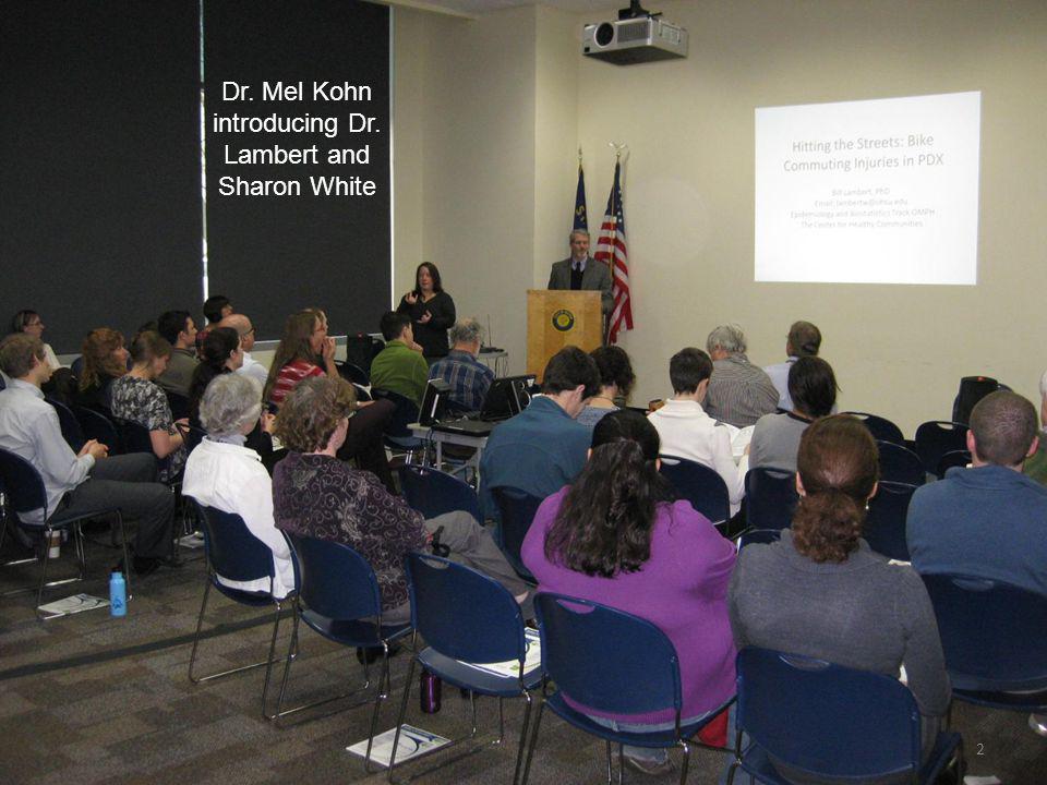 2 Dr. Mel Kohn introducing Dr. Lambert and Sharon White