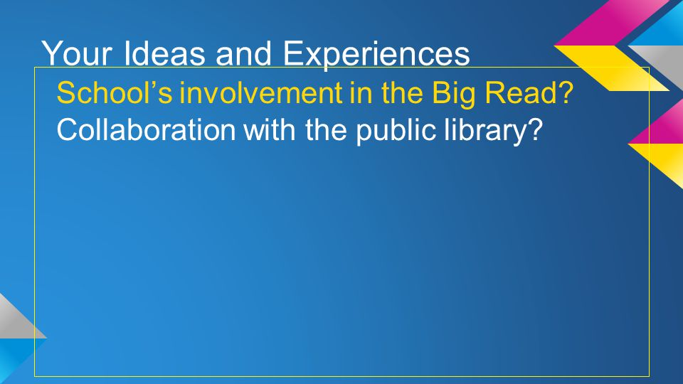 Your Ideas and Experiences Schools involvement in the Big Read.