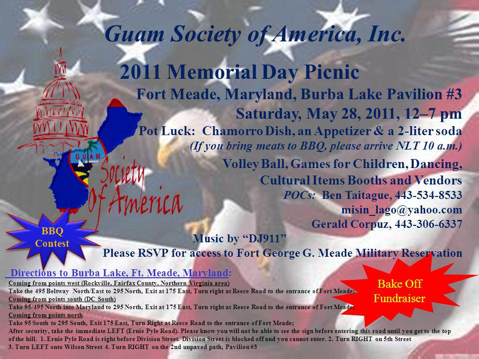 GSA 2011 MEMORIAL DAY PICNIC BARBECUE CONTEST Rules and Procedures: BARBECUE ENTRIES IS LIMITED TO THE FIRST 10 & BEGINS AT 12PM/NOON 1.