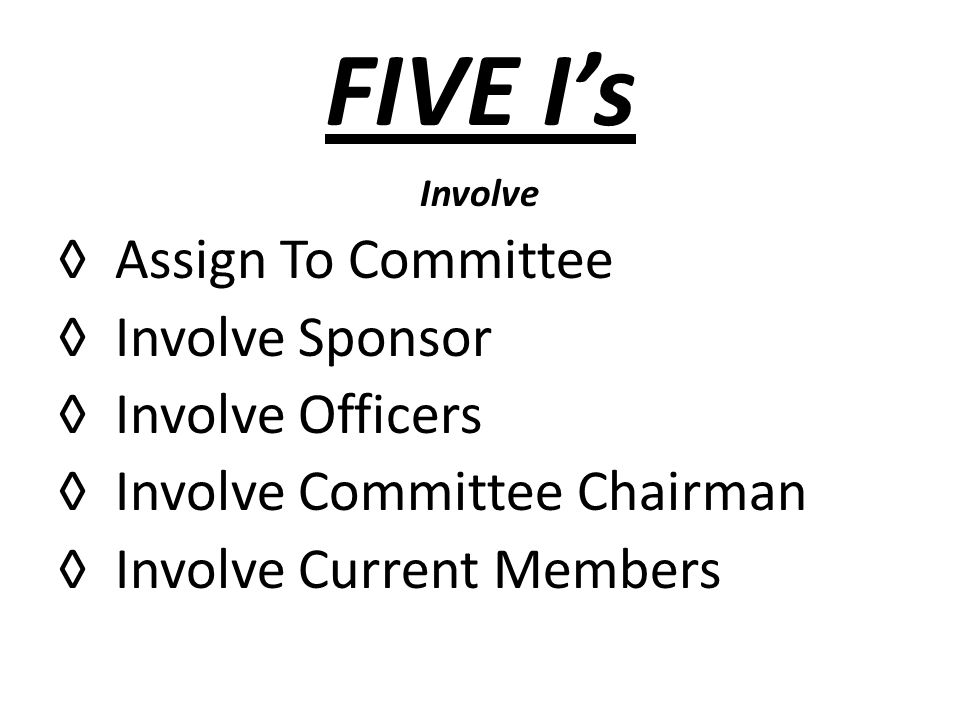 FIVE Is Involve Assign To Committee Involve Sponsor Involve Officers Involve Committee Chairman Involve Current Members