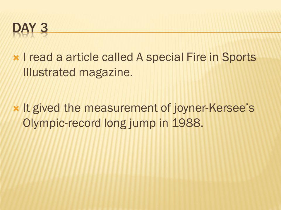 I read a article called A special Fire in Sports Illustrated magazine.