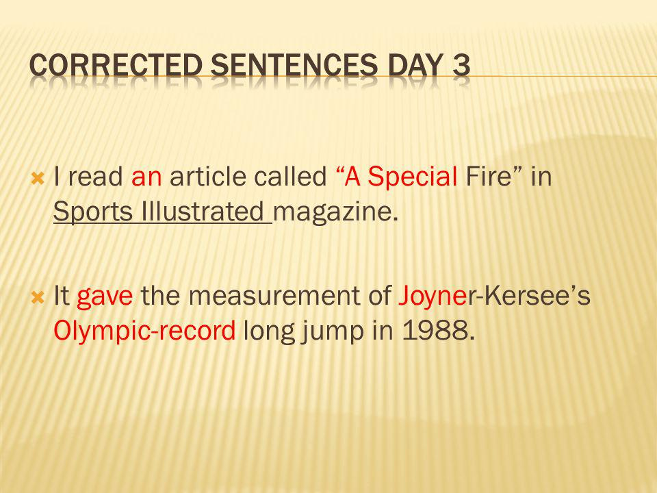 I read an article called A Special Fire in Sports Illustrated magazine.