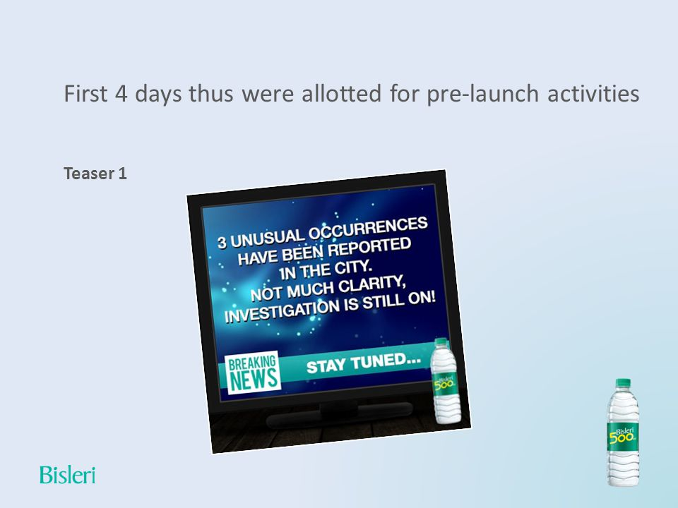 First 4 days thus were allotted for pre-launch activities Teaser 1