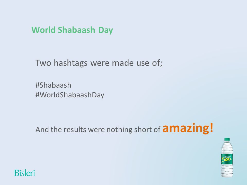 World Shabaash Day Two hashtags were made use of; #Shabaash #WorldShabaashDay And the results were nothing short of amazing!