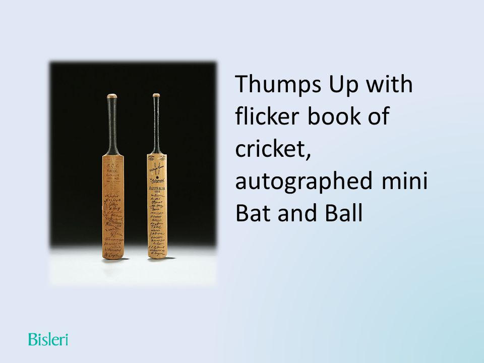 Thumps Up with flicker book of cricket, autographed mini Bat and Ball