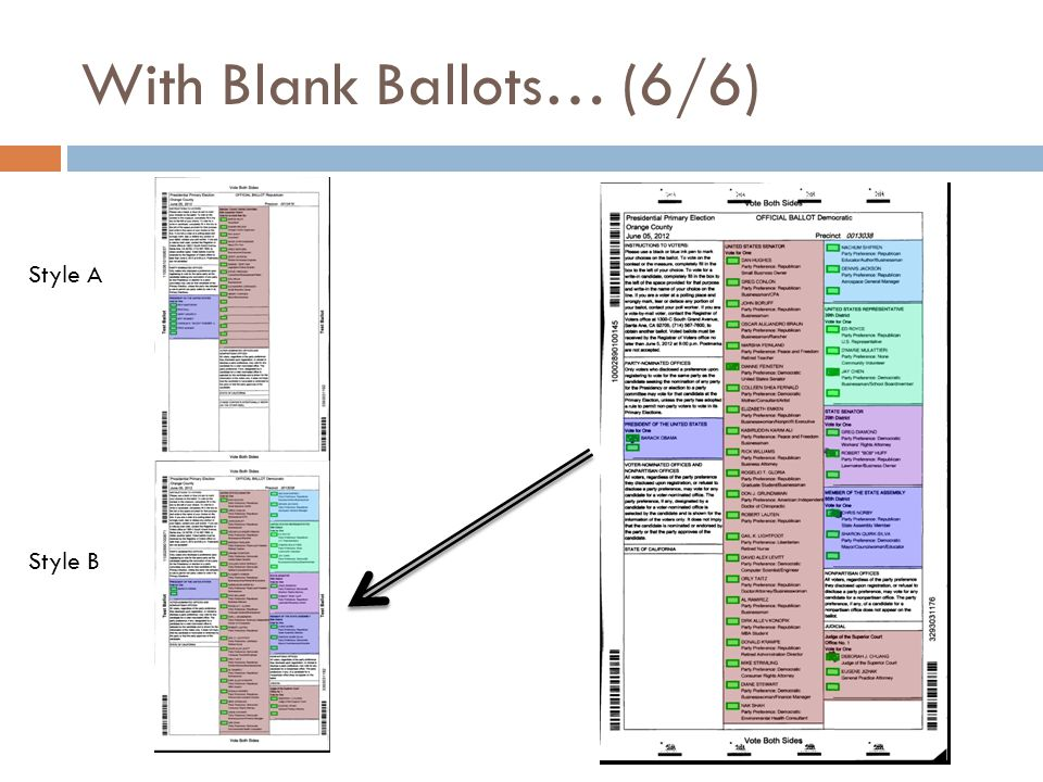 With Blank Ballots… (6/6) Style A Style B