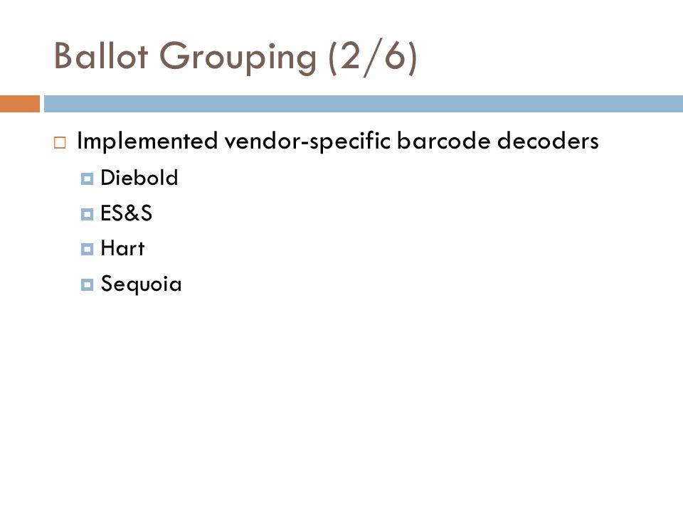 Implemented vendor-specific barcode decoders Diebold ES&S Hart Sequoia