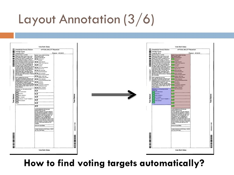 Layout Annotation (3/6) How to find voting targets automatically