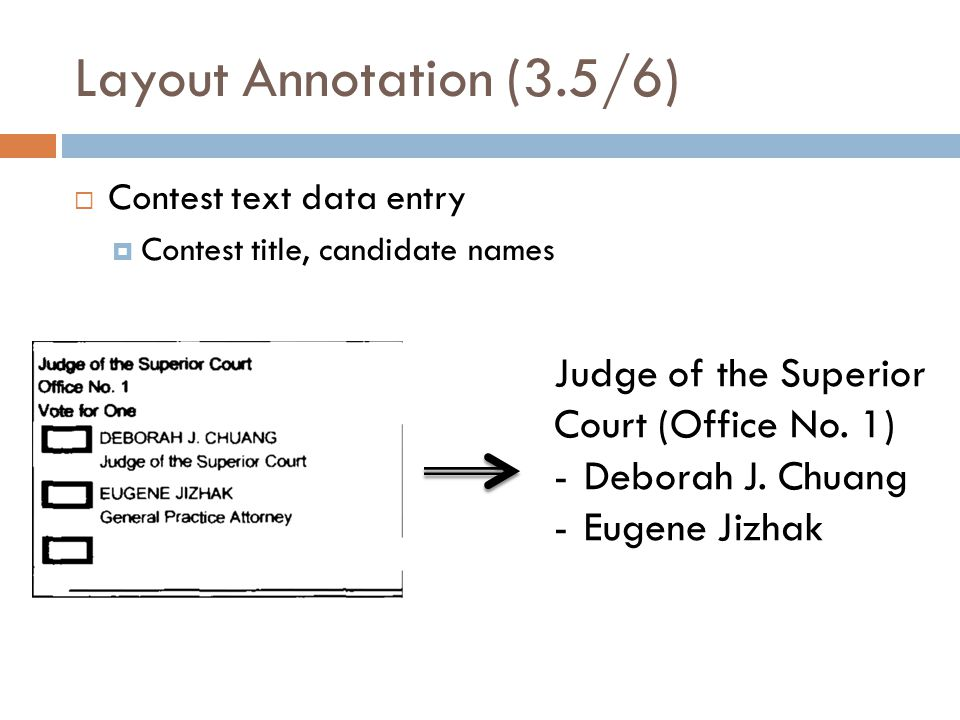 Layout Annotation (3.5/6) Contest text data entry Contest title, candidate names Judge of the Superior Court (Office No.