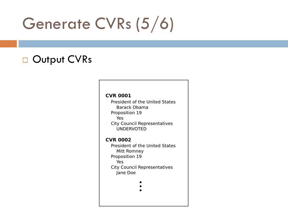 Generate CVRs (5/6) Output CVRs