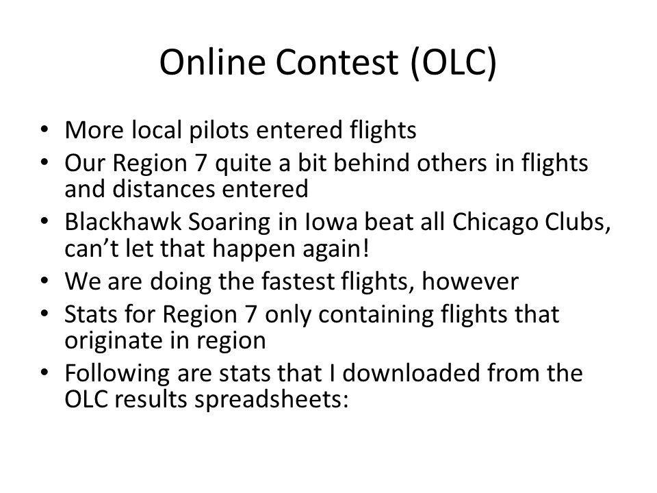Online Contest (OLC) More local pilots entered flights Our Region 7 quite a bit behind others in flights and distances entered Blackhawk Soaring in Iowa beat all Chicago Clubs, cant let that happen again.