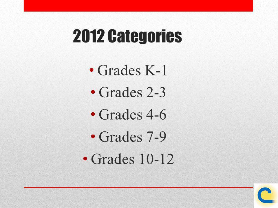 2012 Categories Grades K-1 Grades 2-3 Grades 4-6 Grades 7-9 Grades 10-12