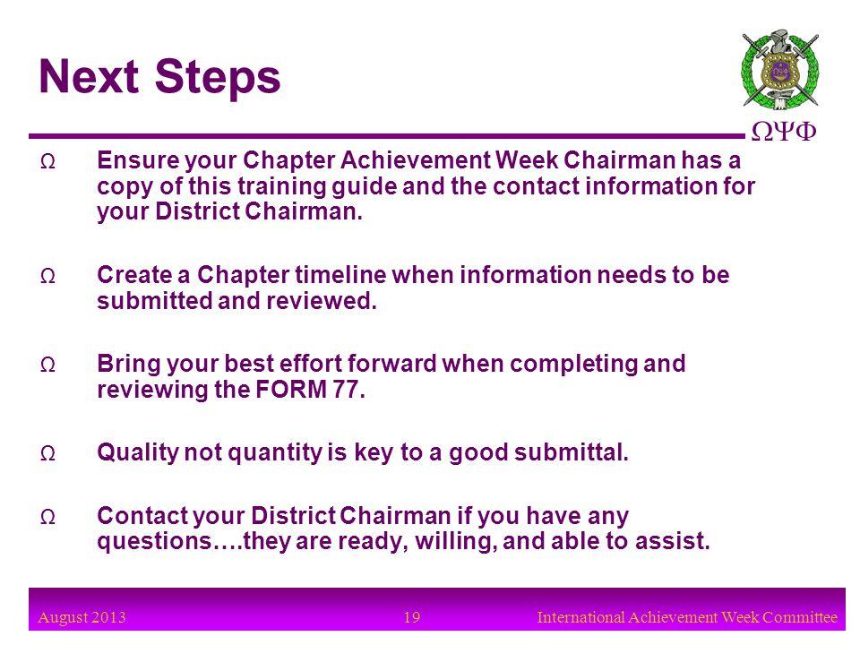 August 2013 20International Achievement Week Committee Achievement Week Committee QUESTIONS ?
