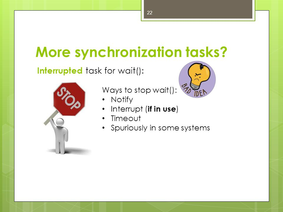 More synchronization tasks.